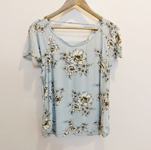Maurice's Light Blue Floral Print Blouse Large
